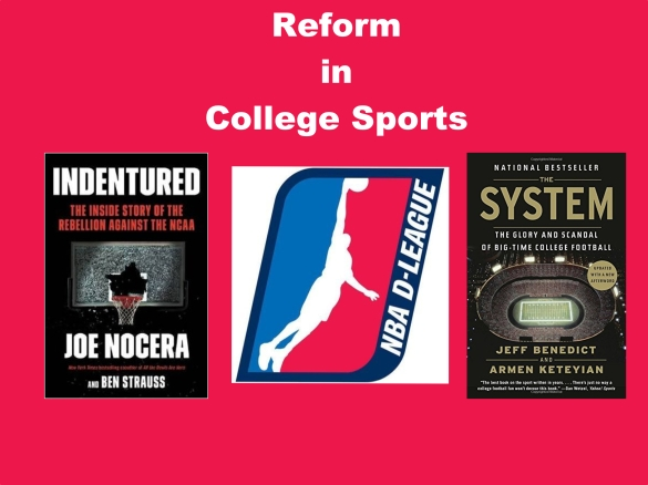 college sports, pay for play, NCAA, college basketball, football, Indentured, Joe Nocera, Jeff Benedict, Ben Strauss, Armen Keteyian
